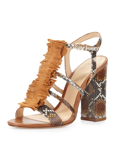 Angelle Strappy Python Sandal, Caramel