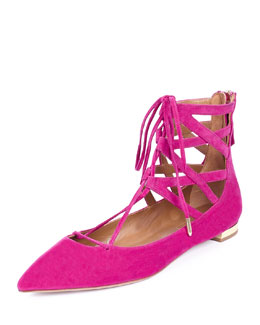 Belgravia Caged Suede Lace-Up Flat, Fuchsia