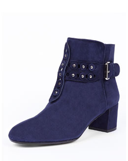 Cortina Disc-Studded Suede Bootie, Ink