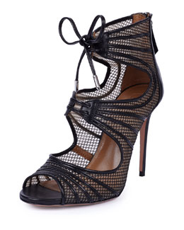 Muse Leather-Trimmed Mesh Caged Sandal
