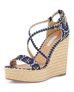 Jenny Floral Dotted Wedge Sandal