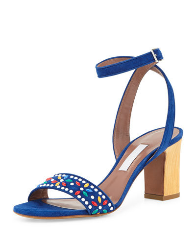 Gia Floral-Beaded Crisscross Sandal, Navy