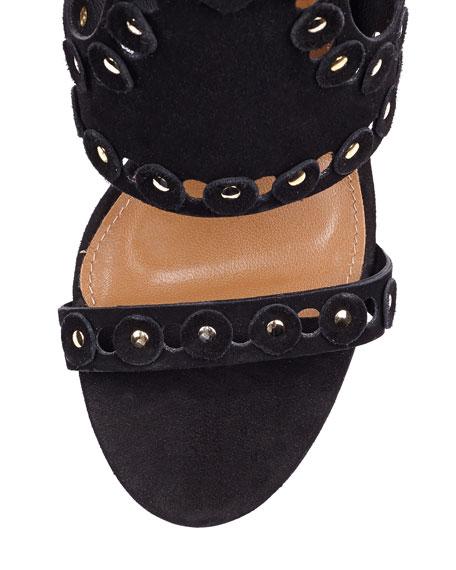 Rebel Studs Disc-Studded Caged Sandal, Black