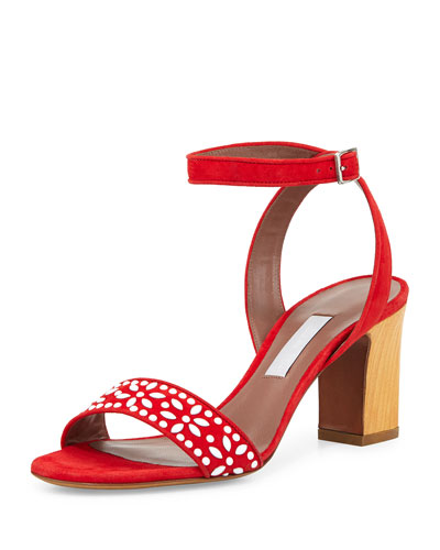 Gia Floral-Beaded Crisscross Sandal, Red