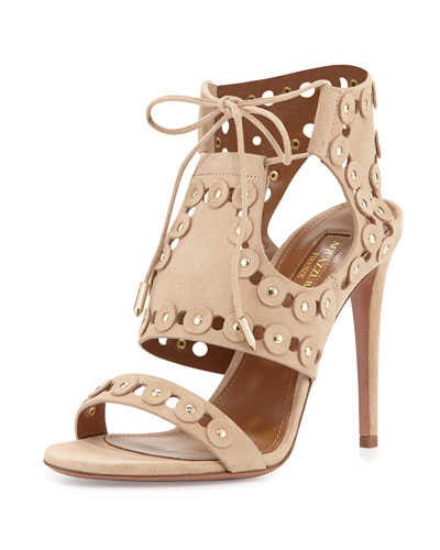 Rebel Studs Disc-Studded Caged Sandal, Nude