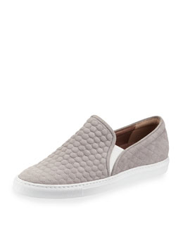 Huntington Quilted Suede Skate Shoe, Gray