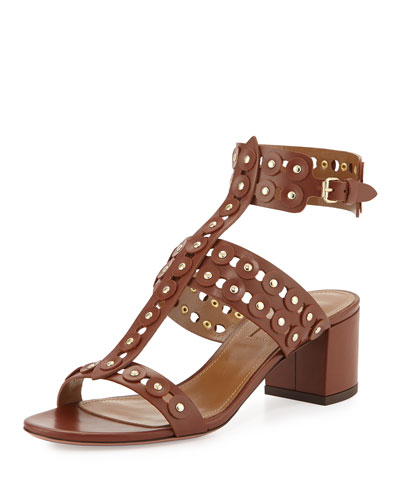 Rebel Studded Leather Sandal, Luggage