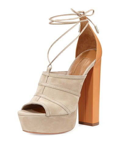 Very Eugenie Suede Lace-Up Ankle-Wrap Sandal
