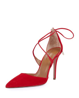Matilde Crisscross Tie-Back Point-Toe Pump, Red