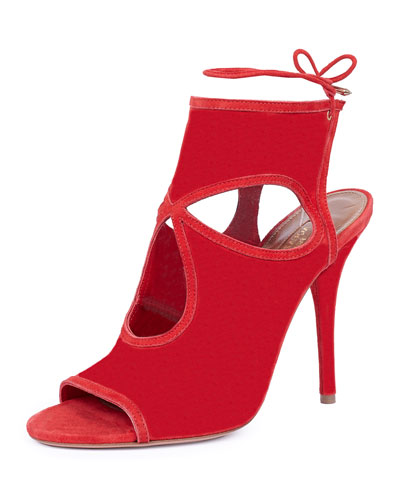 Sexy Thing Cutout Ankle-Wrap Bootie, Red