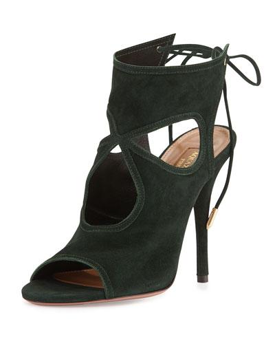 Sexy Thing Tie-Back Keyhole Sandal, Dark Green
