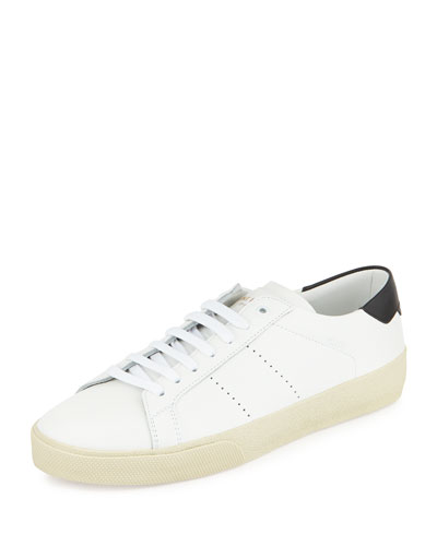 Classic Leather Low-Top Sneaker, White/Black