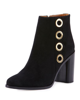 Flo Grommet-Trimmed Suede Ankle Bootie
