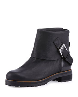 Georgie Fold-Over Buckled Moto Bootie