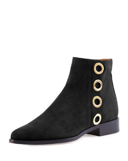 Flo Flat Grommet-Trimmed Suede Ankle Bootie