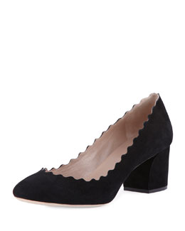 Lauren Scalloped Suede Pump, Black