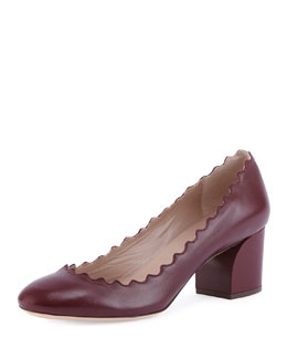 Lauren Scalloped Leather Pump, Burgundy