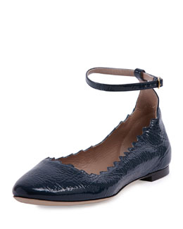 Lauren Scalloped Patent Ankle-Wrap Ballet Flat