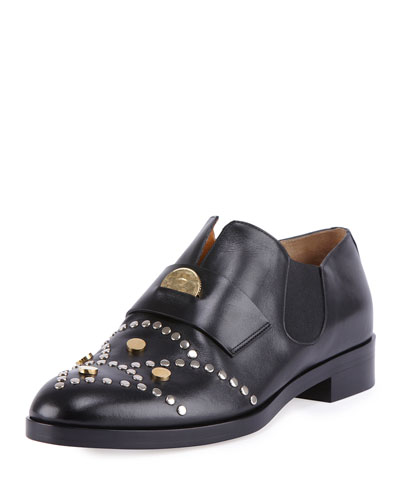 Glory Studded Leather Penny Loafer