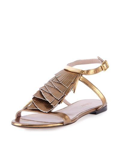 Metallic Fringe Flat Sandal, Gold