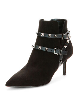 65mm Rockstud Ankle-Strap Suede Bootie