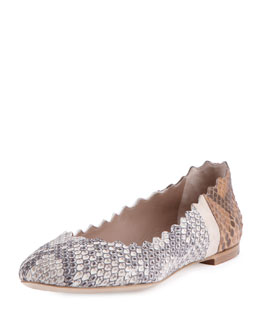 Lauren Scalloped Python Ballet Flat, Natural/Tan