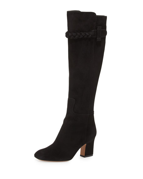 Braided Suede Knee Boot