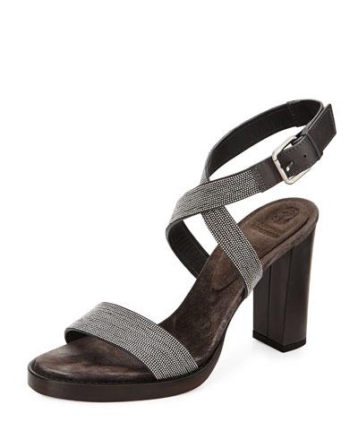 Metallic Monili Crisscross Sandal