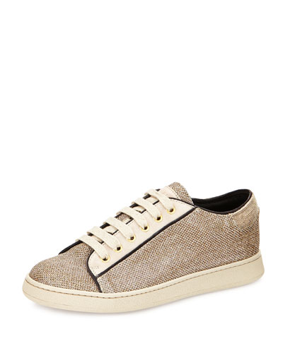 Lame Lace-Up Sneaker, Gold