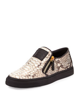 Metallic Snake-Embossed Zip Skate Shoe