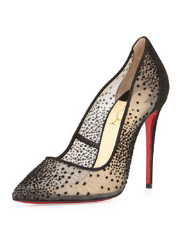 Follies Suede Spotted Lace Red Sole Pump