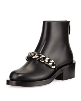 Curb-Chain Flat Bootie, Black