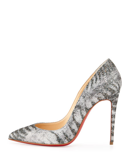 Pigalle Follies Striped Glitter Red Sole Pump