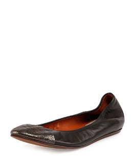 Lizard-Embossed Cap-Toe Ballet Flat