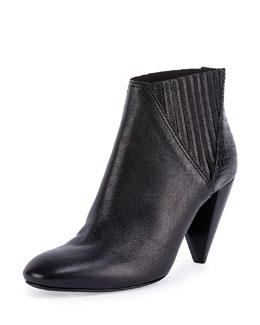 Leather Cone-Heel Bootie, Black
