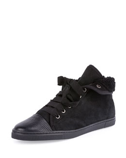 Shearling Fur-Lined High-Top Sneaker, Black
