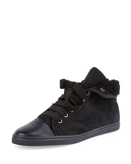 Shearling Fur-Lined High-Top Sneaker, Black
