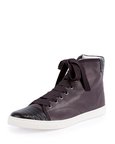 Bicolor Embossed Cap-Toe High-Top Sneaker
