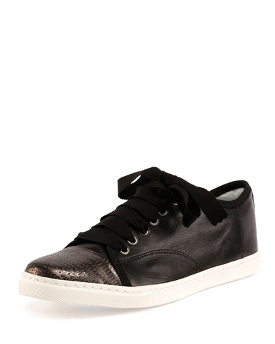 Leather Cap-Toe Low-Top Sneaker, Black