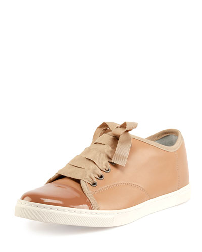 Leather Cap-Toe Low-Top Sneaker, Nude