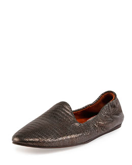Lizard-Embossed Smoking Slipper, Gunmetal