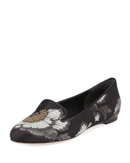 Floral-Embroidered Satin Smoking Slipper