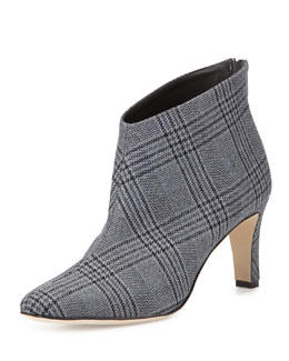 Maca Plaid Ankle Bootie, Gray