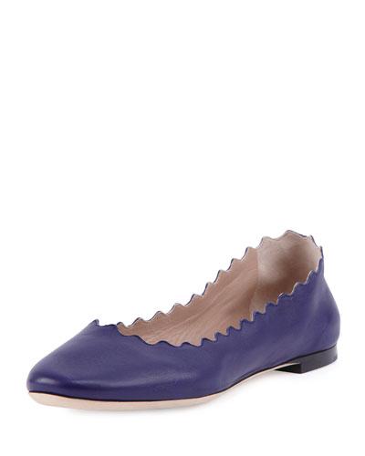 Scalloped Leather Ballerina Flat, Storm Blue