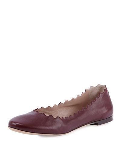Scalloped Leather Ballerina Flat, Burgundy