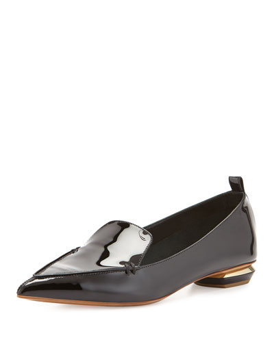 Patent Leather Point-Toe Loafer, Black