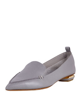 Pebbled Leather Point-Toe Loafer, Gray