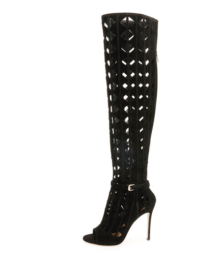 Pyramid-Cut Suede Over-the-Knee Boot
