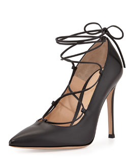 Lace-Up Point-Toe Pump
