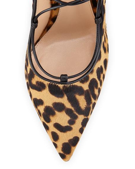 Leopard-Print Calf Hair Lace-Up Pump